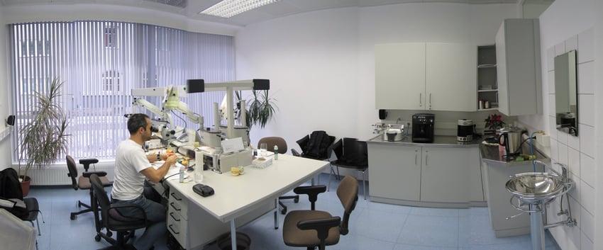 Nei restauri provenienti dal centro di fresatura procediamo sempre alla rifinitura manuale dei margini al microscopio, in modo da garantire l'esatta precisione dimensionale