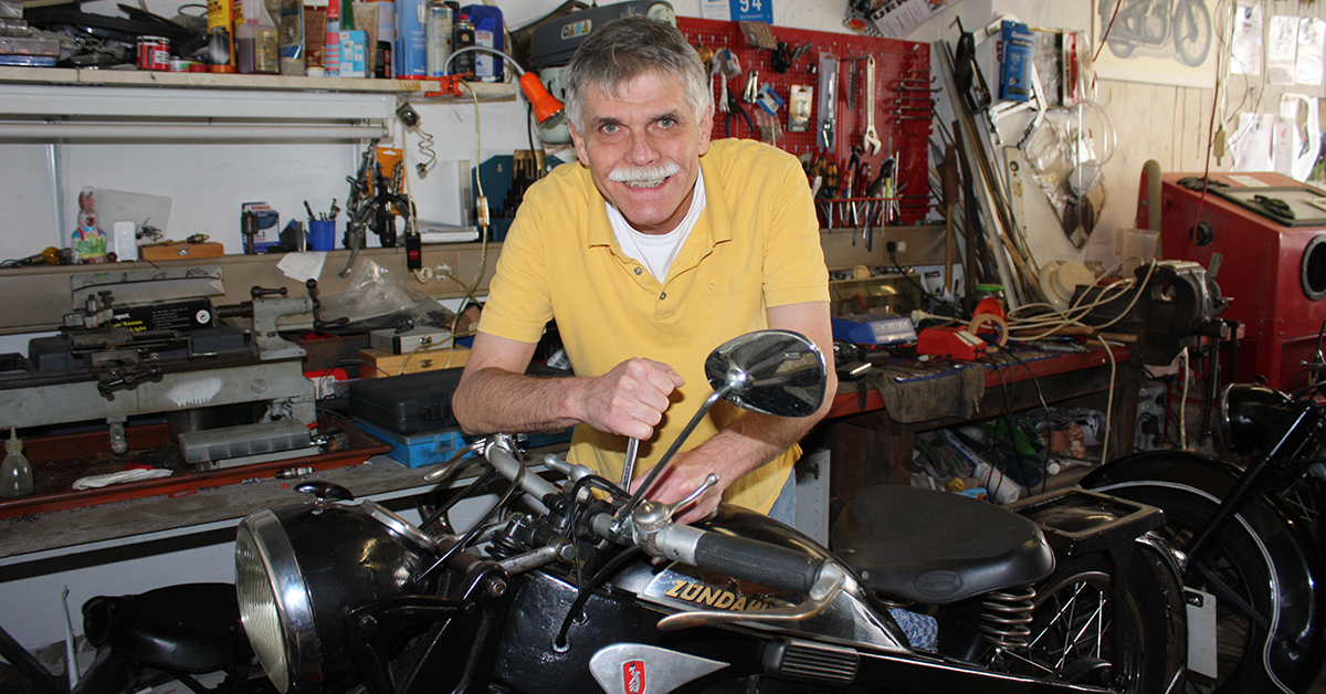 The dental technician who loves old motorcycles
