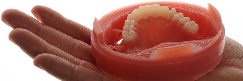 Fertige Prothese direkt nach dem Fräsen. Prothesenbasis und Zahnkranz sind vereint.