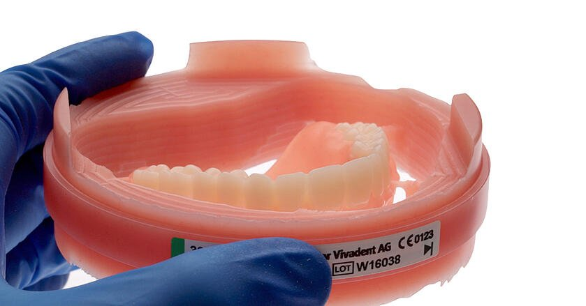 The maxillary denture immediately after precision milling in the PrograMill PM7