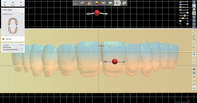 Customized positioning of the dental arch within the SR Vivodent CAD Multi disc.